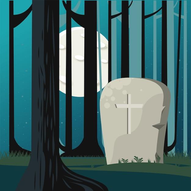 Scheda di celebrazione di halloween felice con tomba nella scena della foresta.