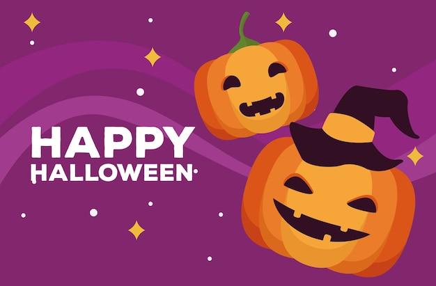Scheda felice di celebrazione di halloween con zucche e disegno dell'illustrazione di vettore dell'iscrizione