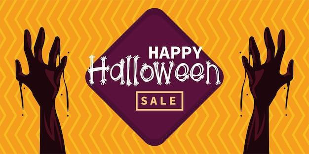 Scheda di celebrazione di halloween felice con mani e scritte di zombie
