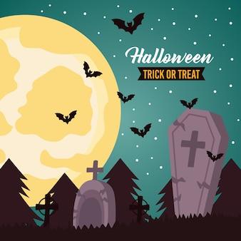 Iscrizione di celebrazione di halloween felice con la luna piena e pipistrelli nel cimitero