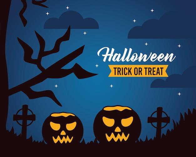Iscrizione felice di celebrazione di halloween con le zucche nel cimitero