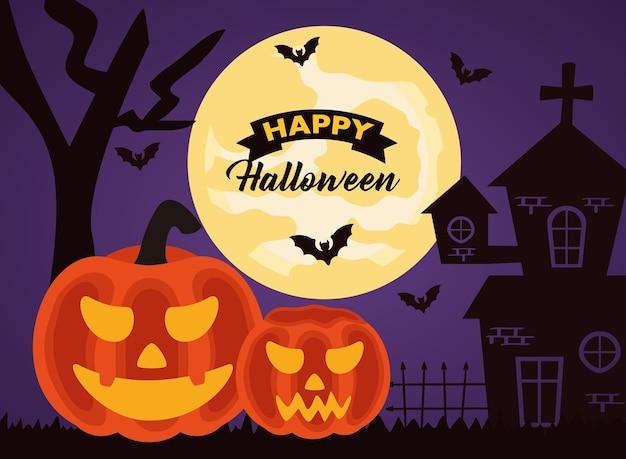 Iscrizione di celebrazione di halloween felice con zucche e castello infestato
