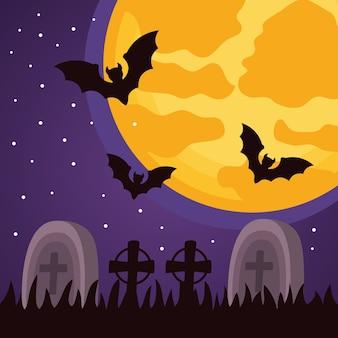 Felice festa di halloween con cimitero e pipistrelli che volano scena notturna