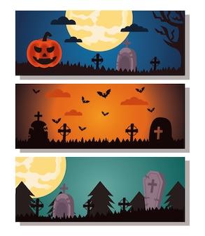 Felice festa di halloween con scene di gruppo del cimitero