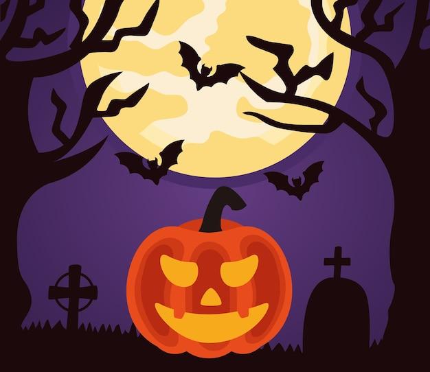 Felice festa di halloween con zucca e pipistrelli che volano nel cimitero