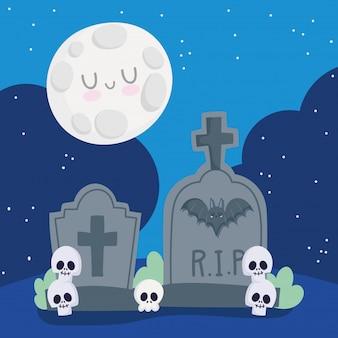 Happy halloween, cimitero lapidi teschi luna notte dolcetto o scherzetto celebrazione festa illustrazione