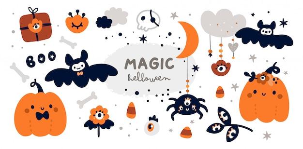 Collezione infantile di halloween felice con elementi di design