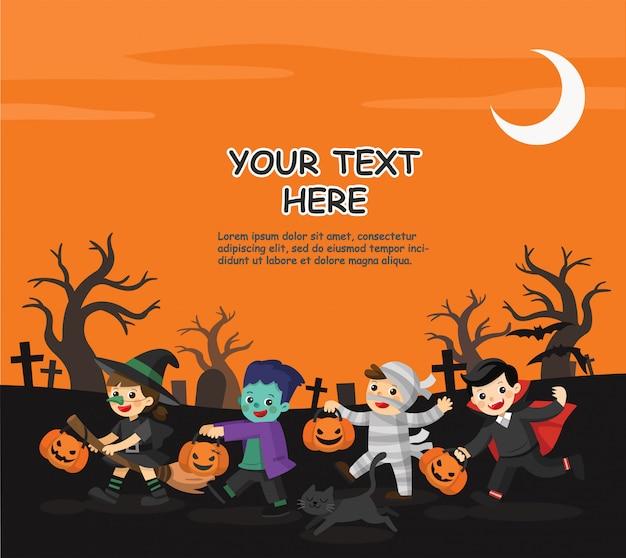 Felice halloween. bambini vestiti con costumi di halloween per fare dolcetto o scherzetto. modello per brochure pubblicitaria.