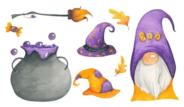 Collezione happy halloween illustrazione ad acquerello