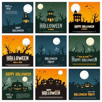 Concetto felice di halloween su fondo arancio, blu e verde, illustrazione