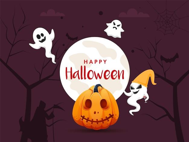 Felice concetto di halloween con illustrazioni di zucca e fantasmi