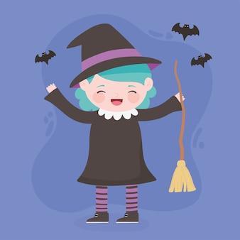 Felice halloween, strega ragazza personaggio in costume con scopa e pipistrelli, dolcetto o scherzetto, celebrazione della festa