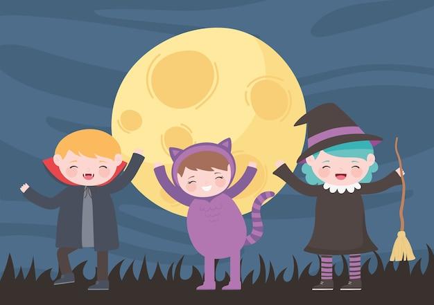 Felice halloween, personaggi in costume gatto strega e dracula per bambini, dolcetto o scherzetto, celebrazione della festa