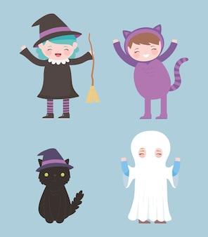 Felice halloween, personaggi in costume ragazze strega gatto e fantasma dolcetto o scherzetto, celebrazione della festa