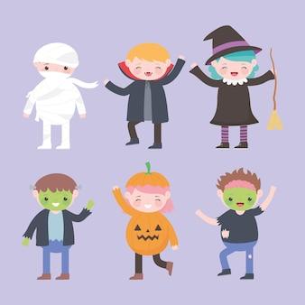 Happy halloween, personaggi in costume gruppo bambini, dolcetto o scherzetto, celebrazione della festa