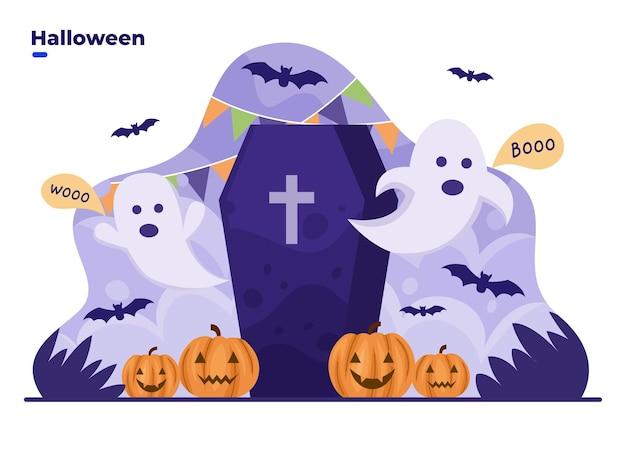Felice halloween simpatico cartone animato con personaggio fantasma e decorazioni di halloween