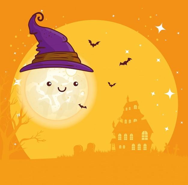 Felice halloween, luna carina con cappello strega e casa infestata illustrazione vettoriale design