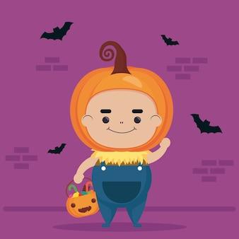 Felice halloween simpatico personaggio di zucca e pipistrelli volanti
