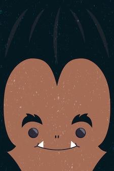 Carattere del viso di uomo lupo carino felice halloween