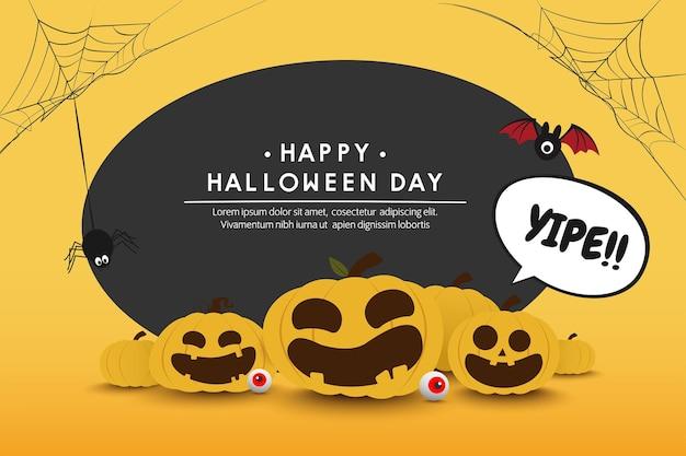 Fondo felice dell'insegna di giorno di halloween, disegno di vettore del mostro della zucca