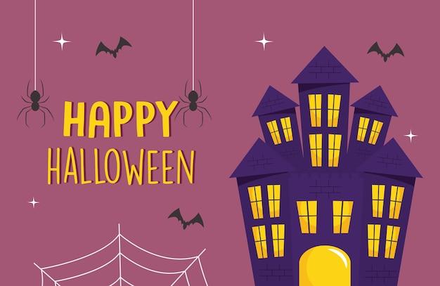 Felice design di halloween con castello dell'orrore e pipistrelli intorno