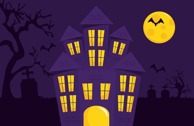 Disegno felice di halloween con il castello dell'orrore e la luna piena su sfondo viola