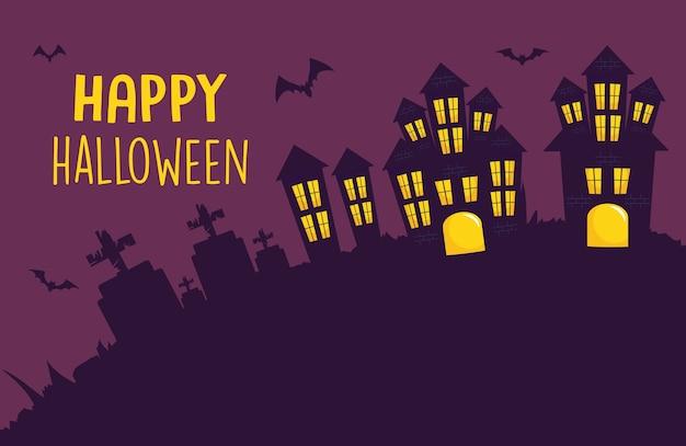 Happy halloween design con castelli spaventosi e pipistrelli intorno su sfondo viola