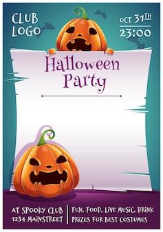 Felice halloween poster modificabile con pipistrelli e zucche spaventate con pergamena su sfondo blu scuro con pipistrelli. buona festa di halloween. per poster, striscioni, volantini, inviti, cartoline.