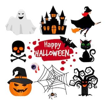 Elementi felici di halloween. icone spaventose di halloween isolate