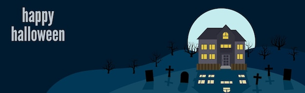 Felice halloween. banner festivo con una casa solitaria sullo sfondo della luna piena di notte. illustrazione vettoriale.
