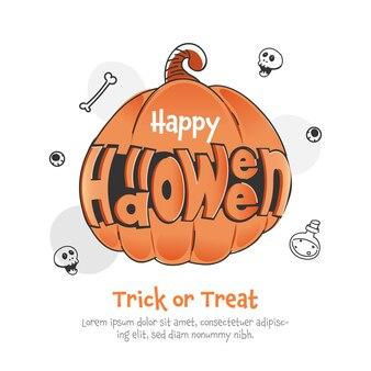 Carattere felice di halloween con l'illustrazione della zucca su fondo bianco per dolcetto o scherzetto.