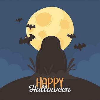 Happy halloween, pipistrelli lapide luna notte dolcetto o scherzetto celebrazione festa illustrazione vettoriale