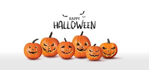 Felice banner di auguri di halloween con zucche e pipistrelli. stile taglio carta.