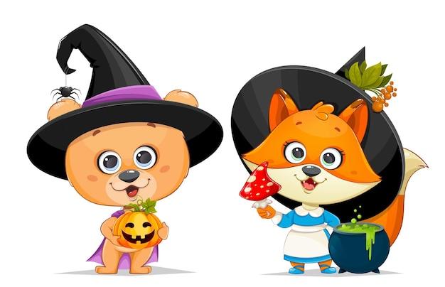 Buon biglietto di auguri di halloween simpatico orsetto con cappello da strega che tiene in mano jack o lantern e simpatica volpe