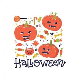 Happy halloween greeting card design. autunno, concetto di caduta. carta vettoriale carino con zucche. jack-o-lanterns composizione quadrata con caramelle e decorazioni.