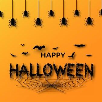 Cartolina d'auguri di halloween felice con ragni disegnati a mano, pipistrelli su sfondo arancione. vettore