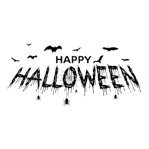 Cartolina d'auguri di halloween felice con ragni disegnati a mano, pipistrelli. vettore