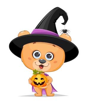 Biglietto di auguri di halloween con strega volpe carina volpe strega divertente con agarico di mosca