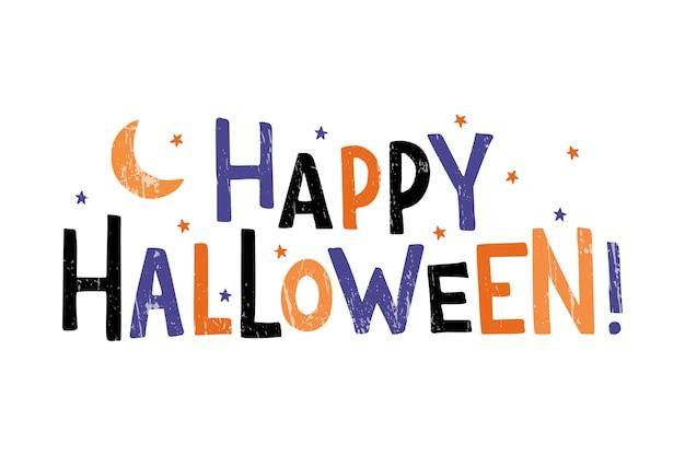 Iscrizione di tipografia disegnata a mano di halloween felice