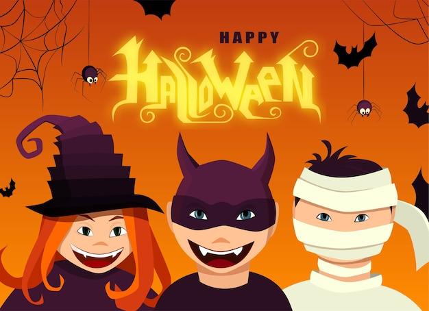 Testo di lettering mano felice di halloween. personaggi di streghe e diavoli con ragni.