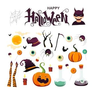 Happy halloween scritte a mano testo con zucca candele ragni streghe gambe e cappello