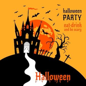 Felice casa stregata di halloween con disegno vettoriale di luna e pipistrelli