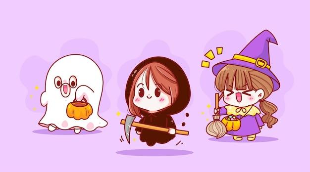 Felice festa di halloween celebrazione raccolta bambino carino costume personaggio disegnato a mano arte del fumetto illustrazione