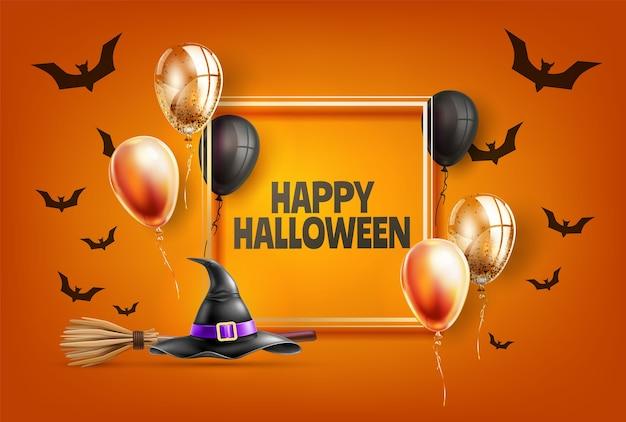 Felice manifesto di festa di halloween con il nero