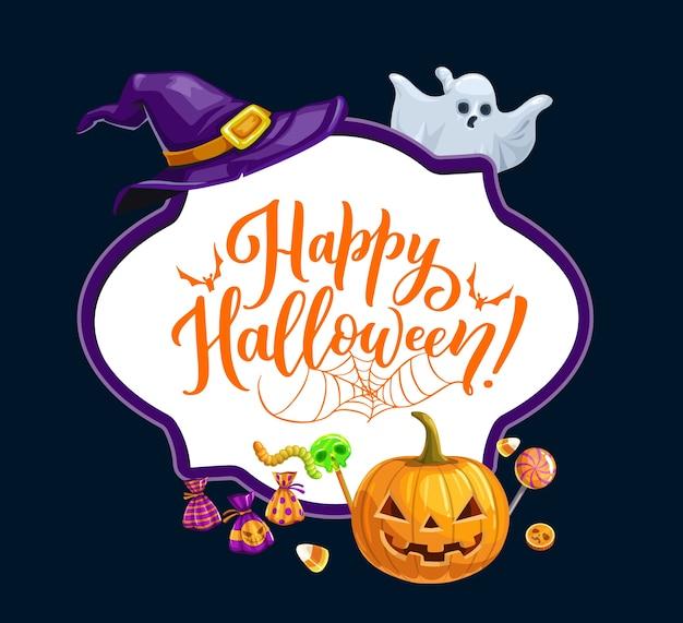 Felice vacanza di halloween, dolcetto o scherzetto cornice festa horror. lanterna di zucca spaventosa di halloween, cappello da fantasma e strega, lecca-lecca con teschio di caramelle e caramelle, vermi, pipistrello e ragnatela