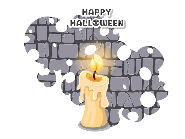 Felice halloween. icona con le candele accese. simbolo del candeliere. biglietto di auguri, invito a una festa. colore sfondo illustrazione vettoriale