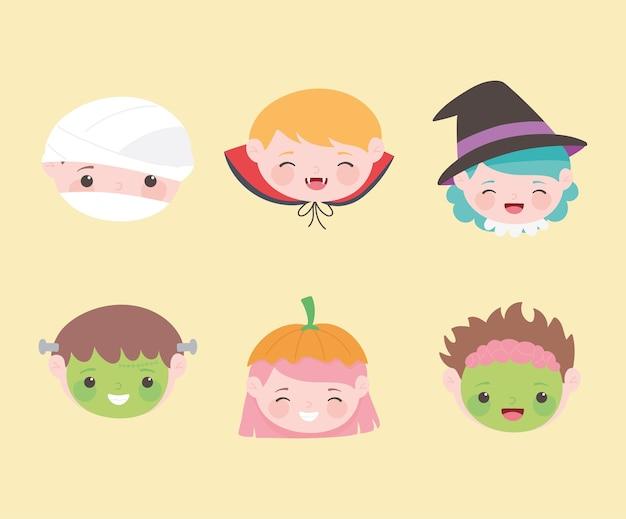 Felice halloween, facce di bambini con dolcetto o scherzetto in costume, celebrazione della festa