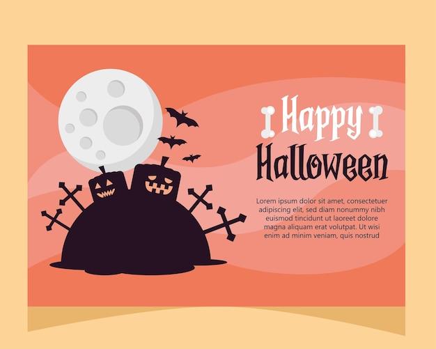 Scheda felice dell'iscrizione di halloween con le zucche nel disegno dell'illustrazione di vettore del cimitero