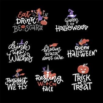 Insieme felice dell'iscrizione di halloween.