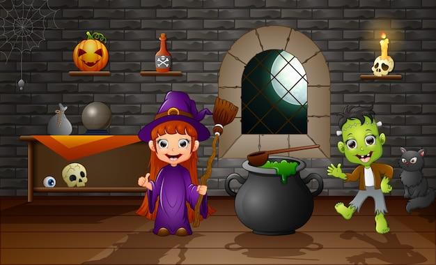 Felice halloween piccola strega e frankenstein